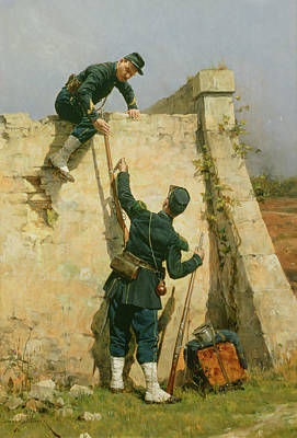 Army Painting - A Quick Escape by Etienne Prosper Berne-Bellecour