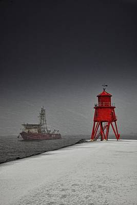 Western Snowfall Photograph - A Red Lighthouse Along The Coast In by John Short