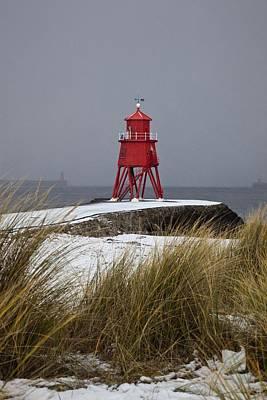 A Red Lighthouse Along The Coast South Art Print by John Short