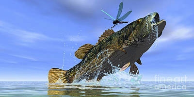 Two Fish Digital Art - A Redeye Bass Jumps But Just Misses by Corey Ford