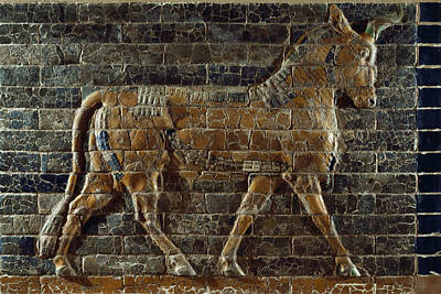 A Relief Depicts A Bull Art Print by Lynn Abercrombie