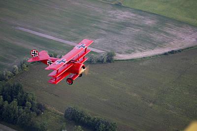 Triplane Photograph - A Replica Fokker Dr. I, A Red Triplane by Pete Ryan