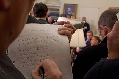 A Reporter Takes Shorthand Notes While Art Print by Everett