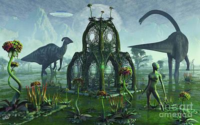 A Reptoid Alien Colonist At Work Art Print