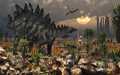 Extraterrestrial Existence Digital Art - A Reptoid Being And A Stegosaurus by Mark Stevenson