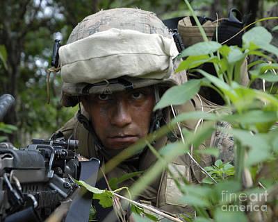 A Rifleman Conceals Himself Art Print by Stocktrek Images
