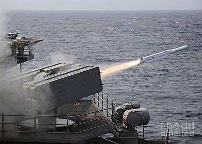A Rim-7 Sea Sparrow Surface Missile Art Print by Stocktrek Images