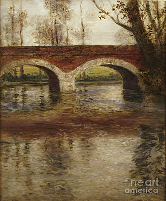 Brick Painting - A River Landscape With A Bridge  by Fritz Thaulow
