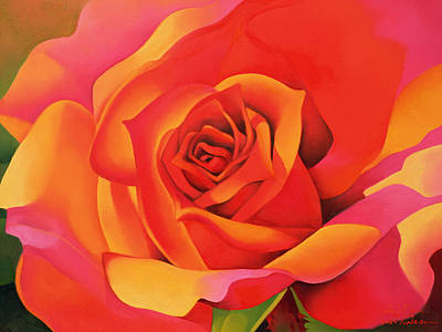 A Rose - Transformation Into The Sun Art Print by Myung-Bo Sim
