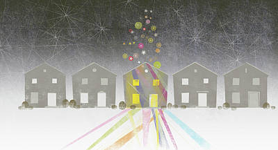 Multi Colored Digital Art - A Row Of Houses by Jutta Kuss