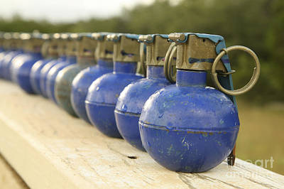 A Row Of M-67 Training Grenades Art Print by Stocktrek Images