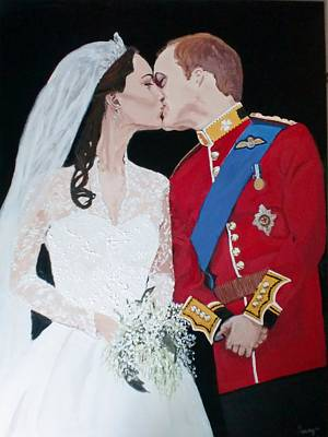 Kate Middleton Painting - A Royal Kiss by Samantha Dreifuss