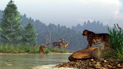 Animals Digital Art - A Saber-Tooth Hunting Deer by Daniel Eskridge