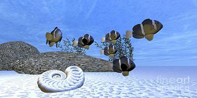 Aquatic Digital Art - A School Of Clownfish Swim by Corey Ford