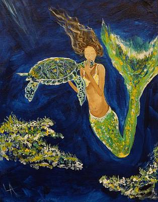 Of A Mermaid Painting - A Sea Turtles Kiss by Leslie Allen