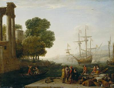 Quayside Painting - A Seaport At Sunset by Claude Lorrain