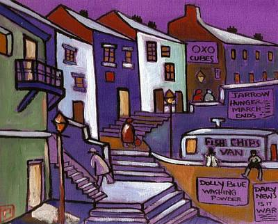 Folk Art Mixed Media - A Seaside Village by Peter  McPartlin