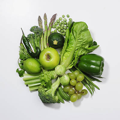 A Selection Of Green Fruits & Vegetables Art Print by David Malan