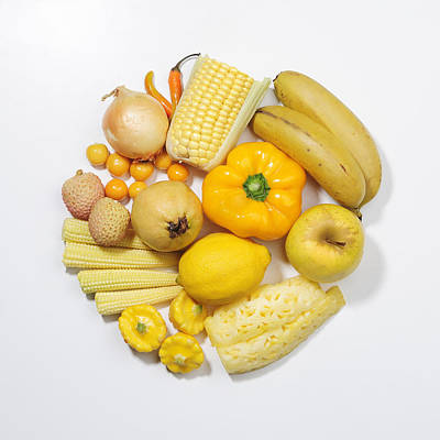 A Selection Of Yellow Fruits & Vegetables Art Print by David Malan