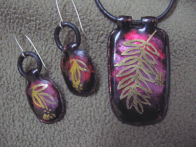 Enamel On Copper Jewelry - a set of Gold leaves by Asya Ostrovsky
