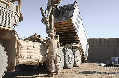 Afghanistan Photograph - A Shipping Container Is Off-loaded by Stocktrek Images