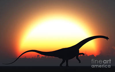 Diplodocus Digital Art - A Silhouetted Diplodocus Dinosaur Takes by Mark Stevenson