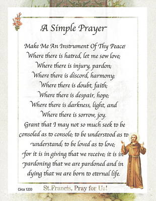 A Simple Prayer By Saint Francis Art Print by Desiderata Gallery