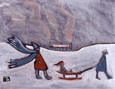 Folk Art Mixed Media - A Sledge In Snow by Peter  McPartlin