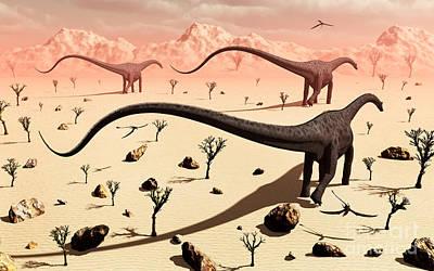 A Small Group Of Diplodocus Sauropod Art Print by Mark Stevenson