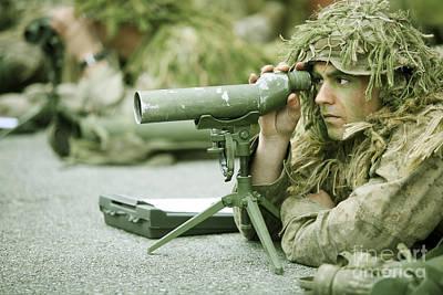 A Sniper Practices Observation Art Print by Stocktrek Images