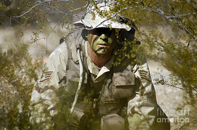A Soldier Practices Evasion Maneuvers Art Print by Stocktrek Images