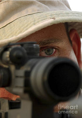 Telescopic Image Photograph - A Soldier Represents One Of This Bases by Stocktrek Images