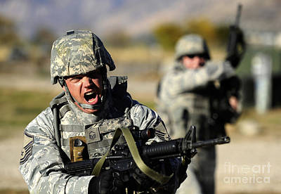 Serious Facial Expression Photograph - A Soldier Shows His Emotions by Stocktrek Images