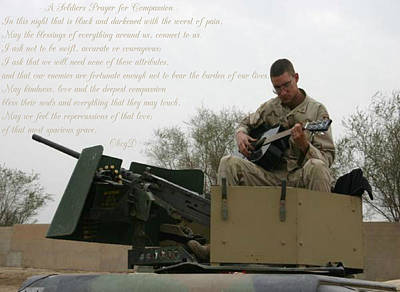 A Soldiers Prayer For Compassion Art Print by Dennis Welch
