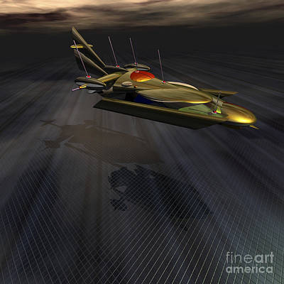 Prototype Digital Art - A Spacecraft Lands At A Base On An by Corey Ford