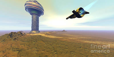 Spaceport Digital Art - A Spacecraft Nears A Spaceport by Corey Ford