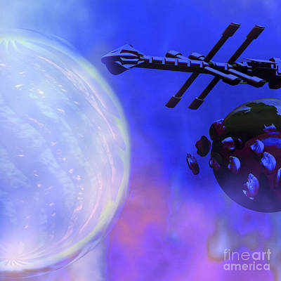 Digital Art - A Spaceship Passes A Moon And Orbiting by Corey Ford