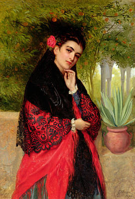 A Spanish Beauty Art Print by John-Bagnold Burgess