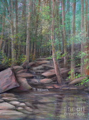 Fall Trees With Stream Painting - A Special Place by Penny Neimiller