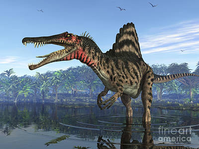 Oasis Digital Art - A Spinosaurus Searches For Its Next by Walter Myers