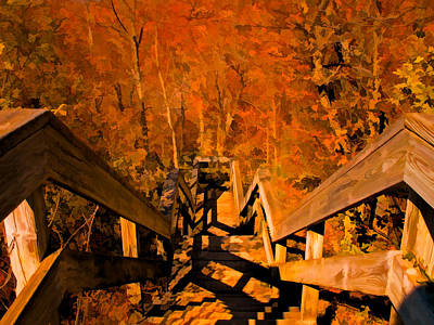 Photograph - A Stairway To Autumn Splendor by Chantal PhotoPix