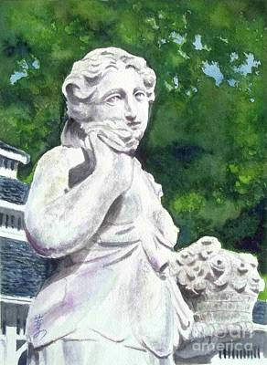 Art Print featuring the painting A Statue At The Wellers Carriage House -1 by Yoshiko Mishina