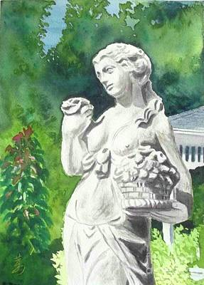 Art Print featuring the painting A Statue At The Wellers Carriage House -2 by Yoshiko Mishina