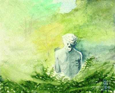 Art Print featuring the painting A Statue At The Wellers Carriage House -5 by Yoshiko Mishina