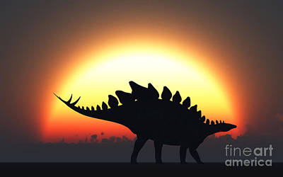 A Stegosaurus Silhouetted Art Print by Mark Stevenson