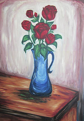 A Still Life Of Red Roses Art Print