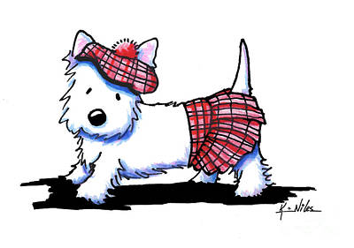 White Terrier Drawing - A Stitch In Tam II by Kim Niles