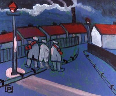 Folk Art Mixed Media - A Street Scene by Peter  McPartlin
