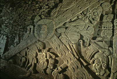 Carving In Stone Photograph - A Stucco Mural Showing The Maya Turtle by Kenneth Garrett