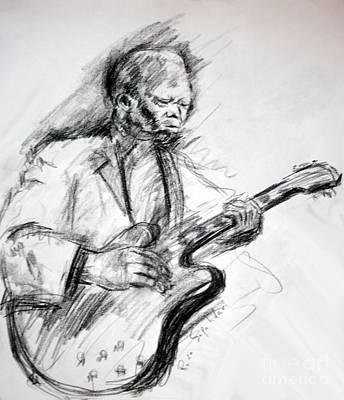 Drawing - A Study Of Bb King by Reza Sepahdari